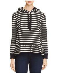 Kate Spade Striped Fleece Hoodie - Black