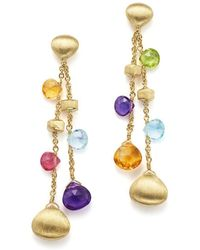 Marco Bicego - 18k Yellow Gold Paradise Gemstone Teardrop Double Strand Earrings - Lyst