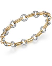 Bloomingdale's Diamond Circle Link Bracelet In 14k Yellow And White Gold - Metallic