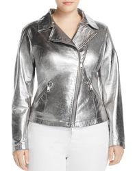 Marina Rinaldi Ebe Metallic Leather Moto Jacket - Multicolor