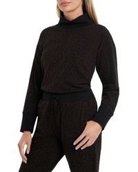 Vince Camuto Cozy Animal Print French Turtleneck - Brown
