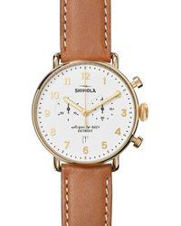 Shinola Men's 43mm Canfield Chronograph Watch, White/tan - Metallic
