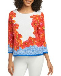 Foxcroft - Hibiscus-print Knit Top - Lyst