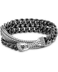 John Hardy Sterling Silver Classic Chain Double Wrap Bracelet - Metallic