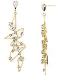 R.j. Graziano Studded Geometric Drop Earrings - Metallic