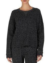 ATM Mini Leopard Print French Terry Sweatshirt - Black