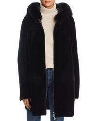 Maximilian Reversible Lamb Shearling Coat With Fox Fur Trim - Black