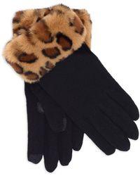 Echo Faux Fur Trimmed Touch Gloves - Black