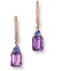 Bloomingdale's - Tanzanite & Diamond Drop Earrings In 14k Rose Gold - Lyst