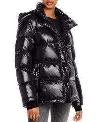 Aqua Short Hooded Puffer Coat - Black