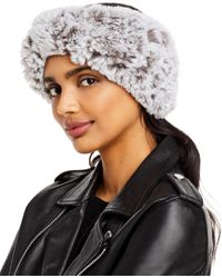 Surell Faux Fur Stretch Knit Headband - Gray