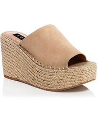 Aqua Jacy Platform Wedge Slide Sandals - Natural