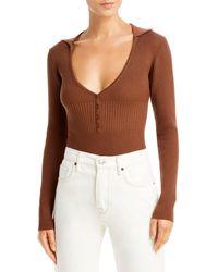 Bardot Collared Bodysuit - Brown