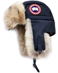 Canada Goose Coyote Fur Aviator Hat - Blue