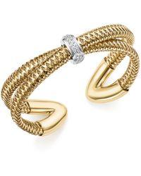 Roberto Coin 18k White And Yellow Gold Primavera Diamond Cuff Bracelet - Metallic