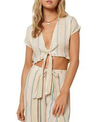 O'neill Sportswear Oriana Tie Front Crop Top - Multicolour