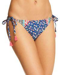 Laundry by Shelli Segal Patchwork Floral Triangle Bra Bikini Top - Blue