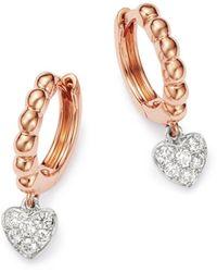 Bloomingdale's Diamond Heart Charm Huggie Hoop Earrings In 14k Rose Gold - Multicolour