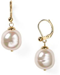 Majorica Baroque Simulated Pearl Drop Earrings - White