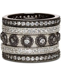 Freida Rothman Studded Stackable Rings In Rhodium - Plated & Platinum - Plated Sterling Silver - Metallic