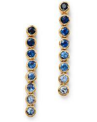 Shebee - 14k Yellow Gold Ombré Sapphire Linear Drop Earrings - Lyst