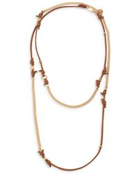 AllSaints Knotted Suede Long Necklace - Metallic