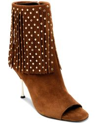 Brian Atwood - Women's Sophia Open Toe Studded Fringe High-heel Booties - Lyst