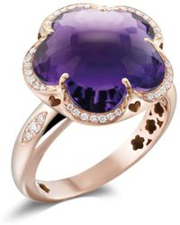 Pasquale Bruni - 18k Rose Gold Bon Ton Amethyst & Diamond Floral Ring - Lyst