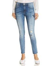 Aqua - Embellished Distressed Skinny Jeans In Medium Wash - Lyst