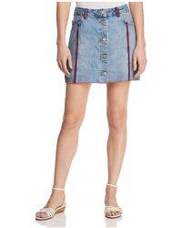 T Tahari - Aaliyah Ribbon-trim Denim Mini Skirt - Lyst