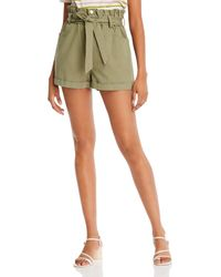 Aqua Cotton Paperbag - Waist Shorts - Green