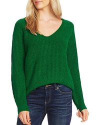 Vince Camuto Ribbed V-neck Sweater - Green