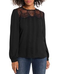 Vince Camuto Lace Trim Pleated Top - Black