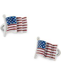 Jan Leslie Sterling Silver American Flag Cufflinks - Blue