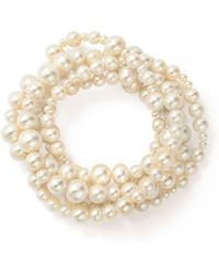 Bloomingdale's Cultured Freshwater Pearl Intertwined Five Row Stretch Bracelet - White