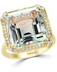 Bloomingdale's - Green Amethyst & Diamond Statement Ring In 14k Yellow Gold - Lyst