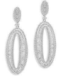 Bloomingdale's Diamond Oval Drop Earrings In 14k White Gold