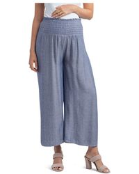 Nom Maternity Corsica Smocked Wide - Leg Maternity Trousers - Blue