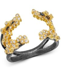 Armenta 18k Yellow Gold & Blackened Sterling Silver Old World Champagne Diamond Open Crivelli Cluster Ring - Metallic