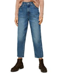 Whistles Authentic Washed High Waist Barrel Leg Jeans In Denim - Blue