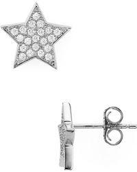 Aqua Star Stud Earrings - Metallic