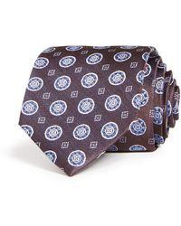 Bloomingdale's Medallion Woven Silk Classic Tie - Purple