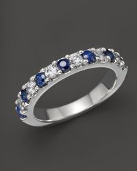 Bloomingdale's Sapphire And Diamond Band In 14k White Gold - Metallic