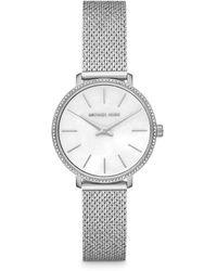 Michael Kors - Mini Pyper Pavé Silver-tone Watch - Lyst