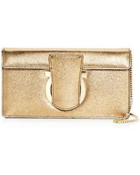 6efff8957175 Lyst - Ferragamo New Bisque Leather Bow Detail Convertible Shoulder ...