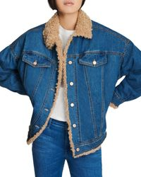 J Brand Drew Faux Sherpa Jean Jacket In Indigo Vienna - Blue