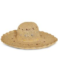 BCBGMAXAZRIA Scalloped Edge Sun Hat - Natural