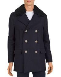 The Kooples Redding Shearling - Collar Pea Coat - Blue