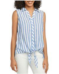 Foxcroft - Lila Striped Tie-waist Top - Lyst