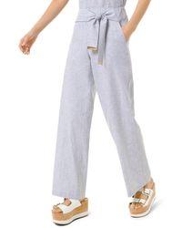 MICHAEL Michael Kors Striped Linen And Cotton Tie-waist Pants - Blue